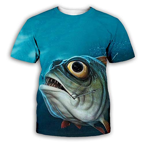 WEIYI BO Mens Novelty 3D Full Printed Funny Fish Short Sleeve Casual T-Shirt 5 XL