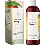 Naturally Flavored Massage Oil for Couples - Mango Sorbet Body Massage Oil for Massage Therapy with Pure Jojoba and Sweet Almond Oil for Skin and Coconut Oil - Anti-Aging Body Oil Moisturizer