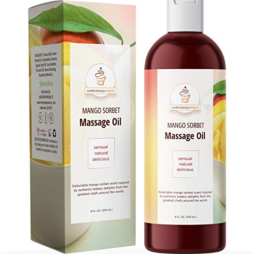 Couples Massage Oil for Massage Therapy - Tasty Sensual Massage Oil for Couples with Jojoba and Sweet Almond Oil for Skin - Flavored Massage Oil with Coconut Oil and Vitamin E Body Oil for Dry Skin