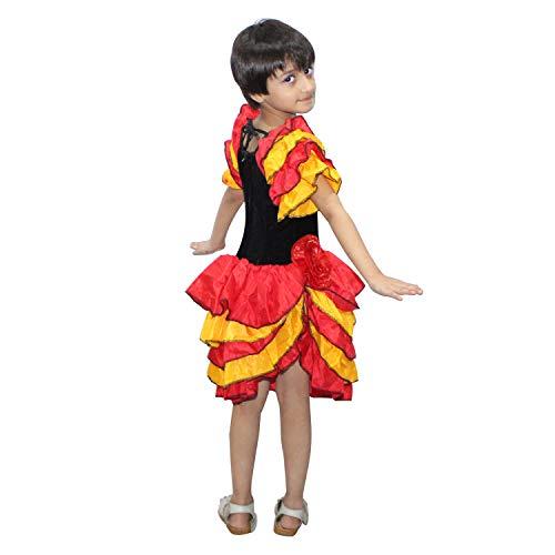 Kaku Fancy Dresses Salsa Girl Costume for Western Dance -Red-Yellow, 7-8 Years, for Girls