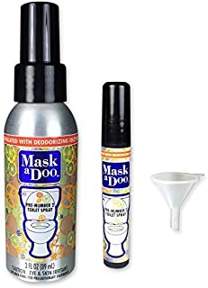Sani 360 MaskaDoo Toilet Deodorizer Spray - As Seen On TV - Portable Toilet Odor Neutralizer Spray 3oz Bottle with 5ml Refill and Funnel, Citrus Peppermint Scent