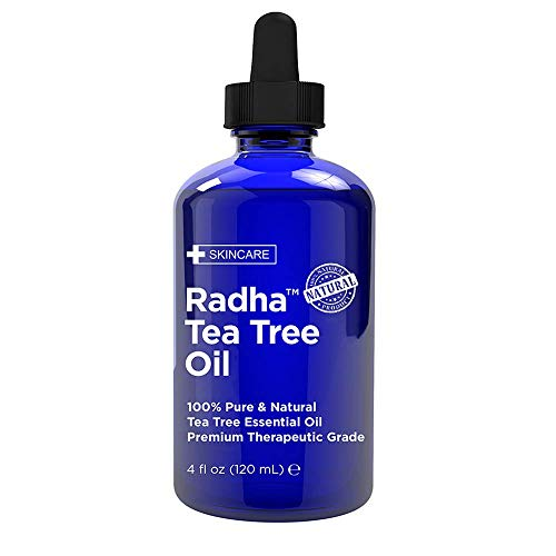 Radha Beauty Tea Tree Essential Oil 4 oz. - 100% Pure & Natural Premium Melaleuca Therapeutic Grade - Great with Soaps, Shampoo, Body Wash, Aromatherapy - Anti-fungal Treatment for Acne, Nails