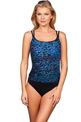 Miraclesuit Blue Purr-Fection Long Torso Fauxkini One Piece Swimsuit Size 16L