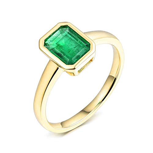 AtHomeShop Real Gold Collection, 18K Yellow Gold Rings, Rectangle Engagement Rings with Sparkling Emerald Green Shape Emerald Proposal Ring for Fiancee, Proposal Marriage Marriage, Polished gold