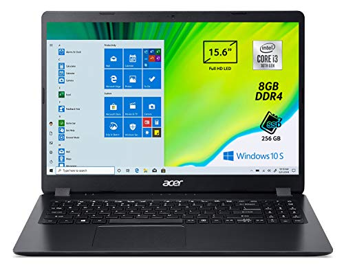 "Acer Aspire 3 A315-56-3274 Pc Portatile, Notebook con Processore Intel Core i3-1005G1, Ram 8 GB DDR4, 256 GB PCIe NVMe SSD, Display 15.6"" FHD LED LCD, Intel UHD, Windows 10 Home in S mode"