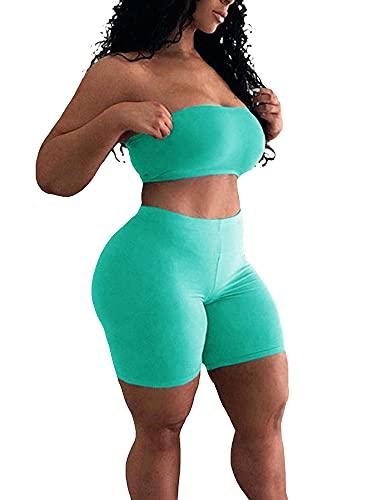 Conjunto de Yoga para Mujer, Sujetador sin Tirantes Deportivo de Entrenamiento de 2 Piezas con Pantalones Cortos de Cintura Alta, Conjuntos de Ropa de Gimnasio Legging (Lake Blue, Large)