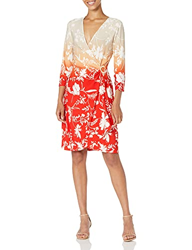 Calvin Klein Women's Faux WRAP Dress, Tango/Latte, Large