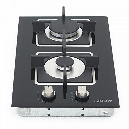 Kaiser KCG 3382 Plaque de cuisson à gaz 2 zones , autosuffisante, 30 cm, encastrée, gaz naturel/propane, soupapes de sécurité, arrêt automatique, vitrocéramique, noir