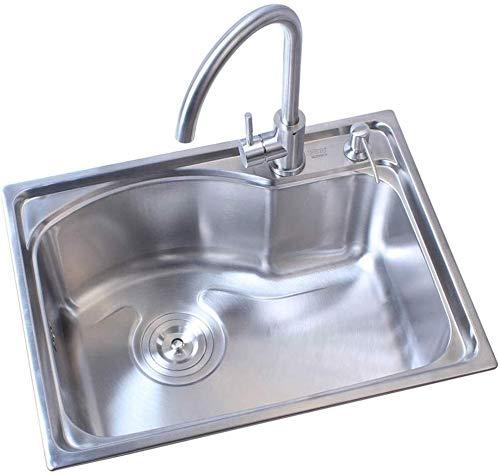 Küchenspüle Edelstahl-Wannen-304-Edelstahl-Wannen einzelnes Waschbecken Spüle 59,5 x 40,5 cm mit Ablauf Basket Rohr ablassen LITING