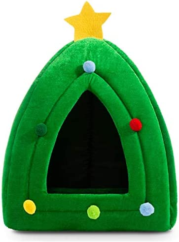 Hollypet Self Warming 2 in 1 Foldable Comfortable Triangle Cat Bed Tent House Christmas Tree product image