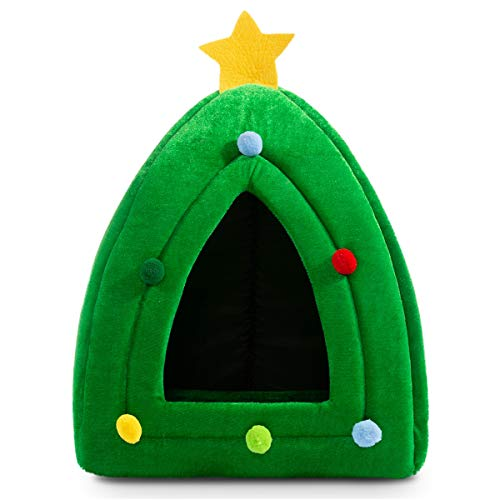 Hollypet Self-Warming 2 in 1 Foldable Comfortable Triangle Cat Bed Tent House, Christmas Tree