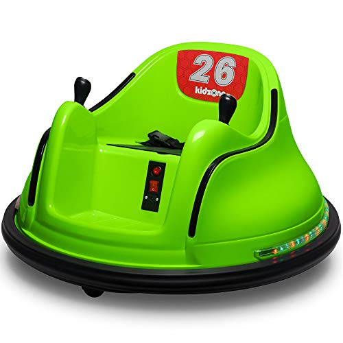 Kidzone DIY Race #00-99 6V Kids Toy Electric Ride On Bumper Car Vehicle Remote Control 360 Spin ASTM-Certified, Green
