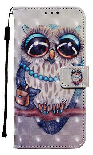 NVWA Compatible with LG Stylo 5 Case,Stylo 5 Plus Case 2019, 3D Leather Wallet Heavy Duty Full Body Protective Phone Cover Credit Card Slot Magnetic Closure Kickstand Smartphone Accessories Grey Owl