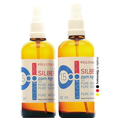PureSilverH2O Kolloidales Silber 200ml 15PPM 2* Sprühflasche Spray je 100ml Silberwasser 100% frisch & effektiv
