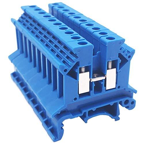 XZANTE Combinatore DK2.5N-BL Distribuzione alimentazione 10 Gang Dk2.5N-BL 10 Morsettiera per guida DIN Morsettiera, 12-22 AWG, 20 Amp, 600V Combinato