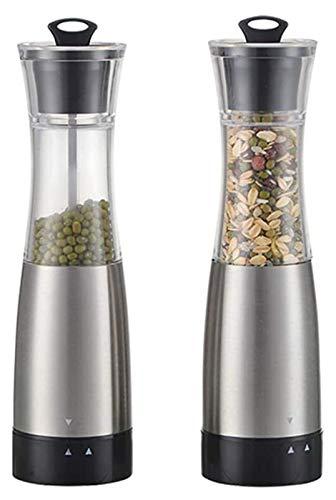 Best Salt and Pepper Grinder Salt Pepper Grinder Mill Set,Electric Battery Automatic Salt Mill Pepper Mill Adjustable Grinder Pepper Shakers Spice Mills 2 Pack