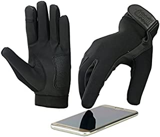NEW 4 Finger Touch Screen Police Motorcycle Gloves with Water Resistant Neoprene Outer Shell Synthetic Leather Palm