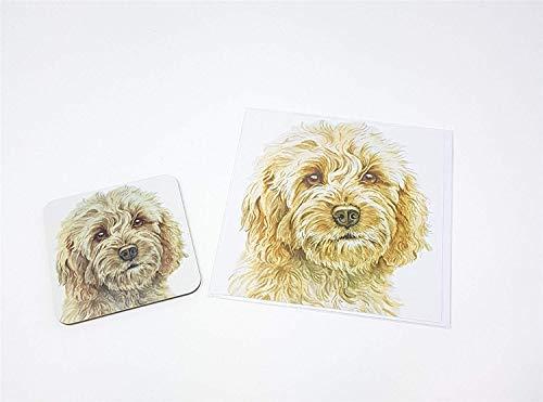 Ensemble 2 pièces blonde Cockapoo chien toutou fabriqué en Royaume-Uni accueil anniversaire carte de Noël Dessous De Verre