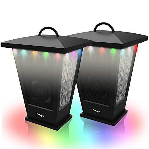 Bluetooth Speakers Waterproof, Pohopa 2 Packs True Wireless Stereo Sound 20W Speakers Dual Pairing Lantern Indoor Outdoor Speakers with 20 Piece Sound Responsive LED Color Lights, Richer Bass, Black