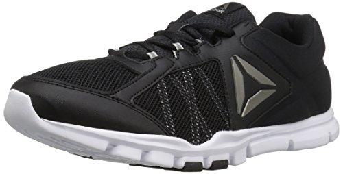 Reebok Men's Yourflex Train 9.0 XWIDE Cross-Trainer Shoe, Black/Skull Grey/White/Pewter, 10 4E US