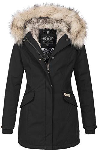 Navahoo Damen Winter Jacke Parka Mantel Winterjacke warm Kunstfell Premium B669 [B669-Christa-Schwarz-Gr.M]