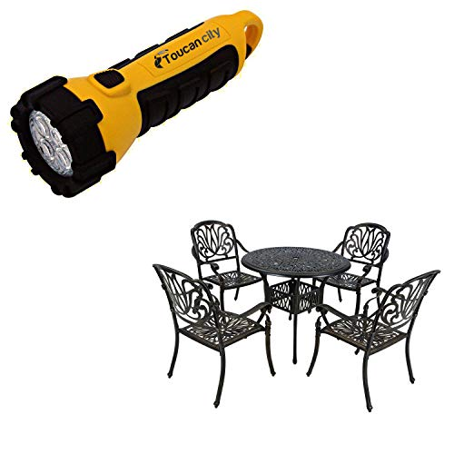 Toucan City LED Flashlight and CASAINC 5-Piece Aluminum Round Outdoor Bistro Set XG1027