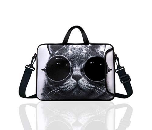 "10-Inch Laptop Shoulder Bag Sleeve Case with padded handle for 9.6"" 9.7"" 10"" 10.1"" 10.5"" Ipad/Netbook/Tablet/Reader (Grey Cat)"