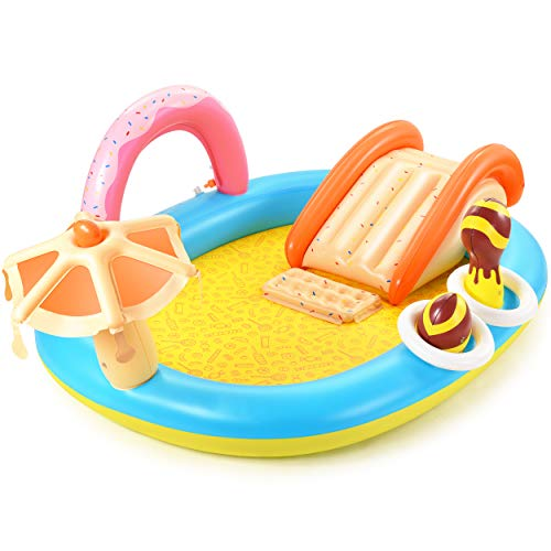 Hesung DR-HSP003 Inflatable Play Center, 98'' x 67'' x 32'' Kids Pool with Slide for Garden, Backyard Water Park, yellow
