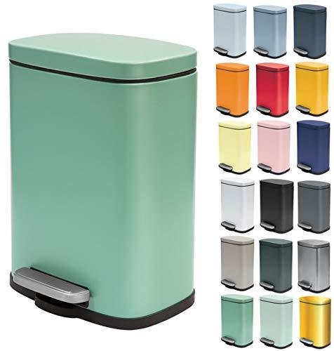 Spirella Kosmetikeimer 5 Liter Edelstahl mit Absenkautomatik und Inneneimer Akira Badezimmer Mülleimer Softclose Abfalleimer grün matt