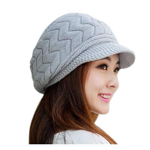 QS_Go Sombreros de Mujer Invierno Sombrero de Punto Sombreros de Moda Gorras para Mujer Sombreros de Invierno Calentar Sombreros Gorras Gorro de Invierno Tipo Otoño e Invierno Tendencia (Gris)