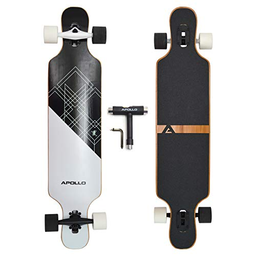 """APOLLO Longboard for Professionals and Beginners; Long Board for Kids, Teens and Adults; Freeride Skateboard Cruiser and Downhill Longboards - 43"""" 5 Layers Bamboo - Samoa"""