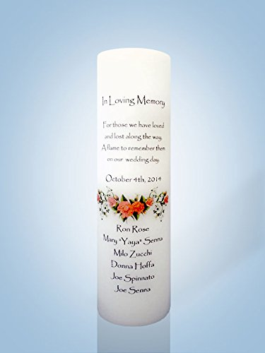 Personalized Wedding Memorial Candle Red Rose
