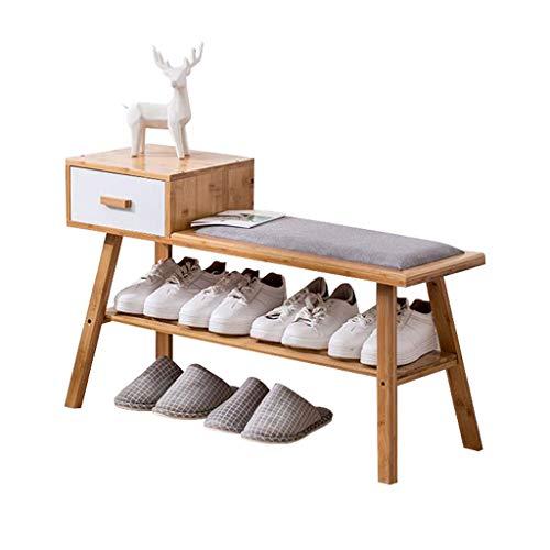 ZZYE Zapatero Banco de Zapatos de bambú Gabinete de Almacenamiento de Zapatos Simple con cajón Entrada de Pasillo almacenando Estilo Europeo Perchero Zapatero