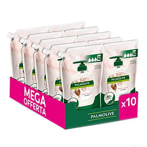 Palmolive Lot de 10 recharges de savon liquide pour les mains Naturals Lait et Amande Soin pour les mains 1 l