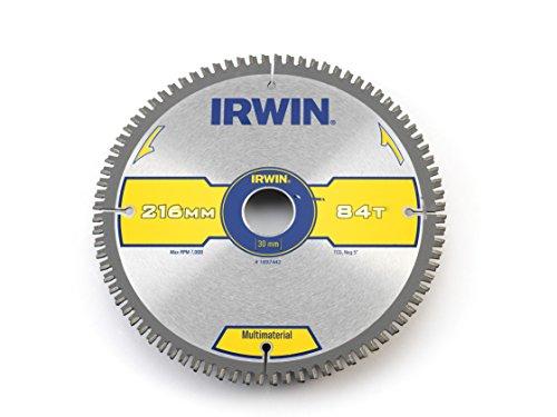 IRWIN IRW1897442 - Hoja Weldtec de sierra circular, 84 dientes TCG y ángulo de gancho negativo, 216 x 30 mm