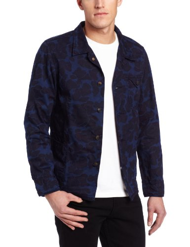 Scotch And Soda - Manteaux et blousons - Homme - Veste bleue à motif camouflage - L