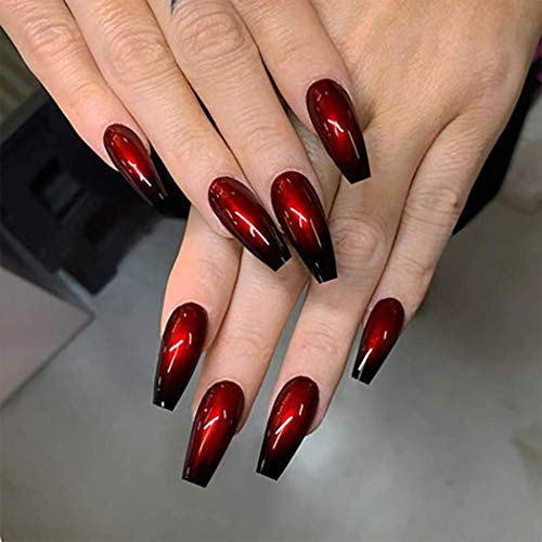 Derora Coffin Press on Nails Fake Nails Long False Nails Full Cover Nails Acrylic Nails Tips for Women and Girls (24Pcs) (Red Long Ombre)