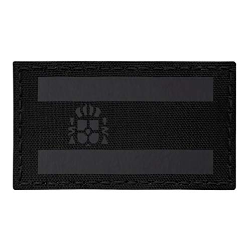 IR Spain Flag Bandera España All Black Blackout Negra 3.5x2 IFF Tactical Morale Fastener Patch