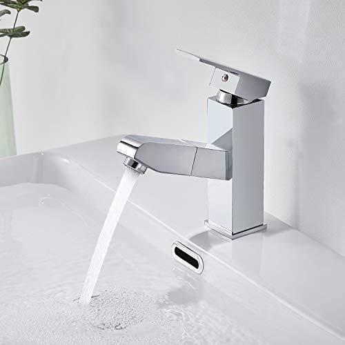 Auralum Wasserhahn Bad ausziehbar mit Brause Messing Chrom Waschtischarmatur Warm-Kaltwasser Waschbecken Armatur Badarmatur Einhebelmischer Mischbatterie für Badzimmer