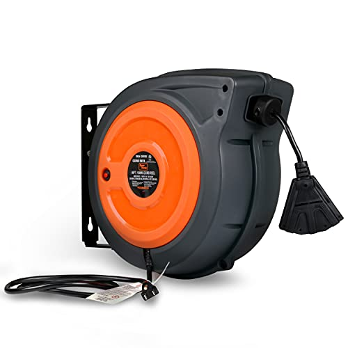 SuperHandy Extension Cord Reel Retractable 16AWG x 50' Feet Long Industrial Polypropylene Ultra Heavy Duty 3C SJTOW Commercial Premium Grade Ultra Flexible Cable (S3) Triple Tap Connector