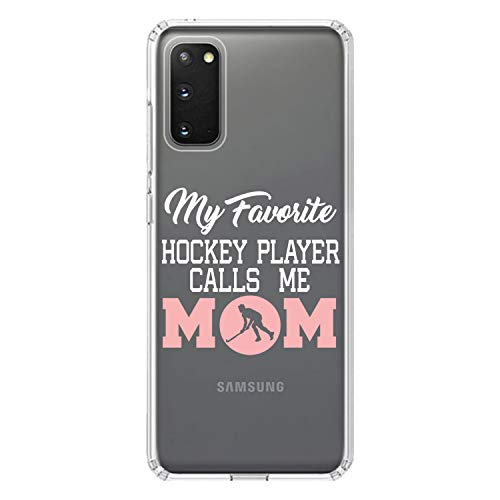 DistinctInk Clear Shockproof Hybrid Case for Samsung Galaxy S20+ Plus/Plus 5G (6.7' Screen) - TPU Bumper, Acrylic Back, Tempered Glass Screen Protector - My Favorite Hockey Player Calls Me Mom