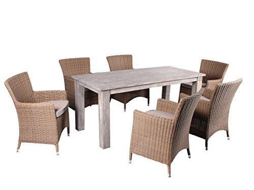 Strandgut07 7tlg. Essgruppe Sitzgruppe 180 x 80 cm Teakholz grau finish hochwertiges Polyrattan Sessel Sitzgruppe Teaktisch Gartenmöbel beige grau Holzmöbel Polyrattanmöbel
