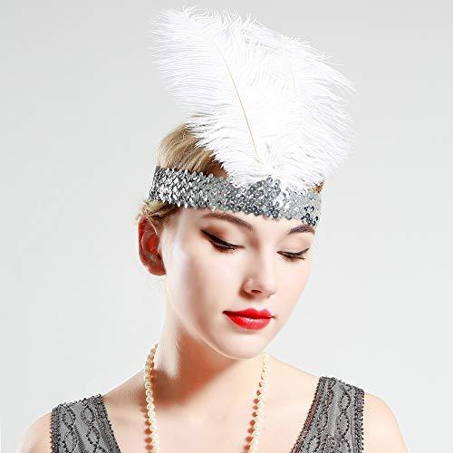 Babeyond® 1920s Stil Stirnband mit schwarzer und weißer Feder Inspiriert von Der Große Gatsby Accessoires für Damen Freie Größe (enthält zwei Stirnbänder) - 6