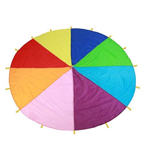 FTVOGUE Kinder Spielen Fallschirm-Mehrfarbenregenbogen-Fallschirm mit Griffen für Kinderspiel im Freien (3.6m)