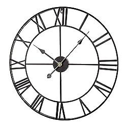 N\C Digital Mute 16-inch Vintage Iron Stereo Roman Wall Clock (Black), Iron Mute Clock, Suitable for Living Room Clock, Bedroom Wall Clock, etc.