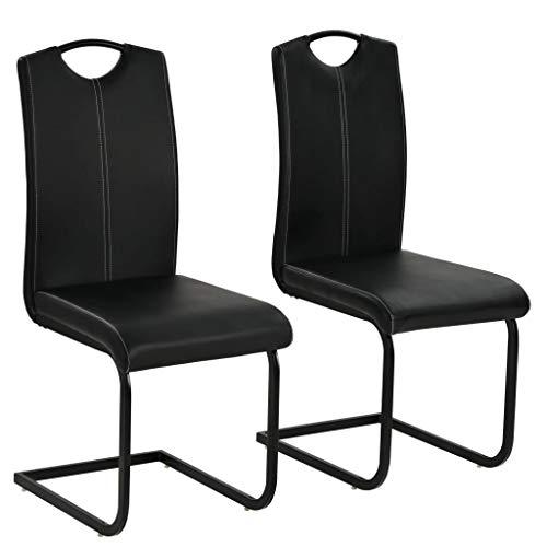 Festnight Esszimmerstühle 2 STK. | Kunstlederstuhl 2er Set | Freischwinger Stühle | Esszimmer Schwingstuhl | Modern Essstuhl | Küchenstuhl | Schwarz Kunstleder 43 x 55 x 100 cm