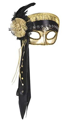 Dream' s Party Maschera Veneziana Carnevale - Faraone faraonessa - Maschera Sexy Adulti - Nera e Oro - Mascherina per Gli Occhi in plastica vellutata con Elastico e Piume