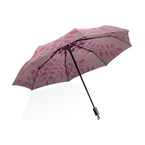 Isaoa Automatique Voyage Parapluie Pliable Compact Parapluie Rose Mandalas Coupe-Vent Ultra léger Protection UV Parapluie pour Homme ou Femme