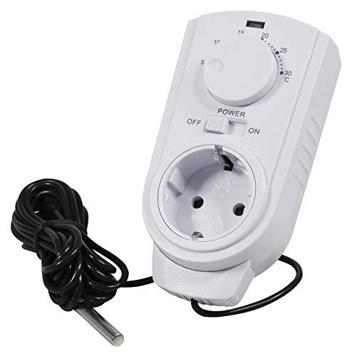 MC POWER - Steckdosen-Thermostate Klimaregelung | TCU-440 | 5-30°C, max. 3.500W, 230V/16A, Temperatur-Fühler | Steuerung von Klimageräten und Heizungen ohne Kabelverlegen