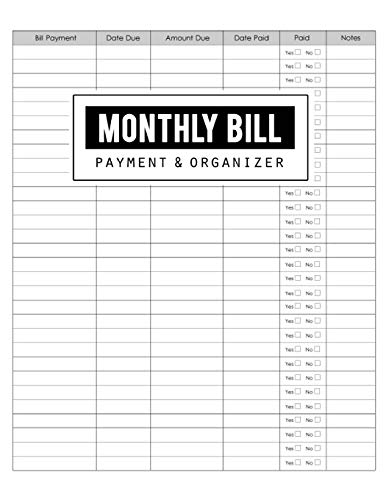 Monthly Bill Payment & Organizer: Money Debt Tracker, Simple Home Budget Spreadsheet, Budget Monthly Planner, Planning Budgeting Record, Expense Finance, Size 8.5 x 11 Inch